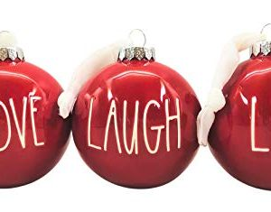 Rae Dunn Set Of 3 Red Ball Christmas Ornaments Live Love Laugh Ceramic Holiday Ornaments For Christmas Tree With White Hanging Ribbon 0 300x235