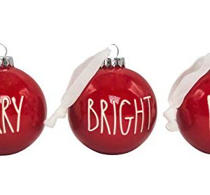 Rae Dunn Set Of 3 Red Ball Christmas Ornaments Merry Bright Noel Ceramic Holiday Ornaments For Christmas Tree With White Hanging Ribbon 0 300x278