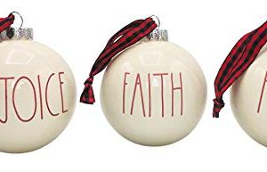 Rae Dunn Set Of 3 White Ball Christmas Ornaments Rejoice Faith Amen Ceramic Holiday Ornaments For Christmas Tree With Red Plaid Hanging Ribbon 0 300x193