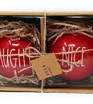 Rae Dunn By Magenta Red Christmas Ornaments Naughty Nice 0 300x336