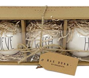 Rae Dunn By Magenta Set Of 3 Believe Wish Hope Ceramic LL Round Bulb Christmas Tree Ornaments 0 300x262