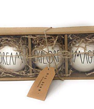 Rae Dunn By Magenta Set Of 3 Dream Explore Imagine Ceramic LL Black Letter Round Bulb Christmas Tree Ornaments 0 300x350