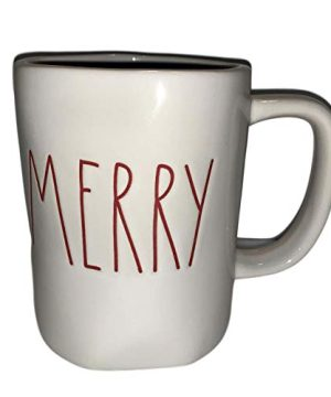 Rae Magenta Dunn Christmas Holiday Mug Merry Red Letters White Cup 0 300x360
