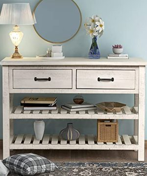 Retro Console Table For Entryway Sofa Table With Drawers And Shelf Living Room Furniture Antique White 0 300x360