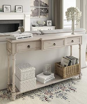 Right2Home 3 Drawer White Entryway Console Table 0 300x360