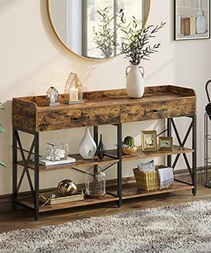 Rolanstar Console Table With Drawers And Shelves 47 Entryway Table With Storage Sofa Table With Stable Metal Frame For Living RoomHallway And Front Hall Farmhouse Style Rustic Brown 0 300x360