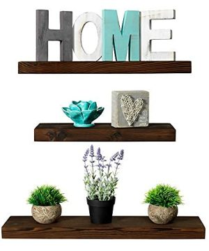 Rustic Farmhouse 3 Tier Floating Wood Shelf Floating Wall Shelves Set Of 3 Hardware And Fasteners Included Dark Walnut 3 Tier 0 300x360