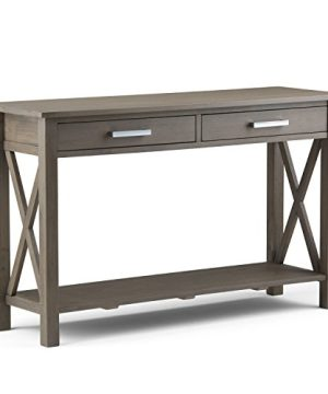 SIMPLIHOME Kitchener SOLID WOOD 47 Inch Wide Contemporary Modern Console Sofa Entryway Table In Farmhouse Grey With Storage 2 Drawers And 1 Shelf For The Living Room Entryway And Bedroom 0 300x360
