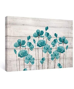SUMGAR Large Wall Art Bedroom Teal Wall Decor Farmhouse Flower Canvas Paintings Floral Pictures36x24 Inch 0 300x360