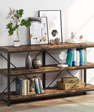 Sofa Table 3 Tiers TV Console TV Stand Long Sofa Table With Storage Shelves For Hallyway Living Room 55 Inch 0 300x360
