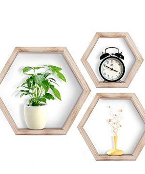 VLikeze Hexagon Floating Shelves Set Of 3 Wall Mounted Honeycomb Wall Shelf Geometric Hexagonal Wood Storage Shelves Farmhouse Decor For Living Room Bedroom Kitchen Office Walnut 0 300x360