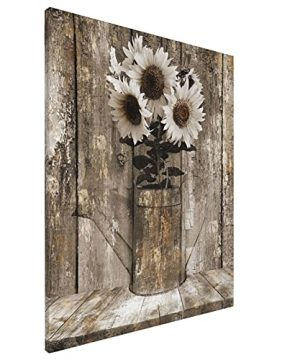 Vantboo Rustic Floral Country Farmhouse Sunflower Canvas Prints Wall Art Paintings Home Decor Artworks Pictures For Living Room Bedroom Bathroom Decoration Ready To Hang 16X20 Inches 0 300x360