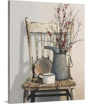Watering Can On Chair Canvas Wall Art Print Still Life Artwork 0 300x360