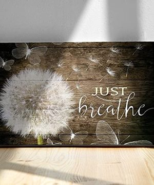 White Dandelion And Butterflies Just Breathe Quotes Poster Brown Rustic Wall Art Canvas Paintings Beautiful Decorative Home Decor Pictures Framed Country Wall Decor Prints For Bedroom Nursery 24x36 0 300x360