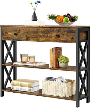 Yaheetech Industrial Console Table With Drawer Sofa Table Narrow Console Table For EntrywayLiving Room Entry Table With 2 Tier Open Shelves Rustic Brown 0 300x360