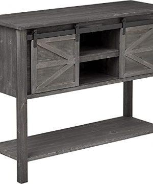 EHemco Farmhouse Console Table With Sliding Barn Doors And Bottom Shelf Grey 0 300x360