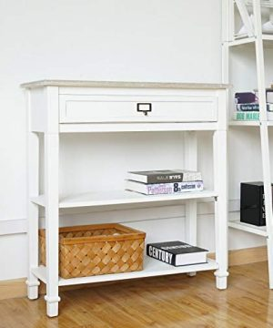 Kinsuite White Console Table With Drawer And Storage Shelf Accent Sofa Table For Entryway Living Room Hallway 0 300x360